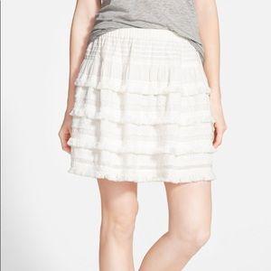 White Hinge Ruffle A-Line Skirt